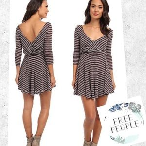 FREE PEOPLE Striped knit Maroon and gray dress